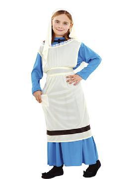Disfraz de lavandera niña. Este traje es ideal para representar en tu función de navidad los oficios de Belén. Este disfraz es ideal para tus fiestas temáticas de disfraces de navidad y cabalgatas infantiles