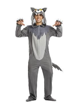 disfraz de lobo gris hombre. Este traje de Lobo de color gris, imita a la perfección al personaje del cuento de caperucita roja y mascota de animación.Este disfraz es ideal para familias y tus fiestas temáticas de disfraces de animales para adultos.