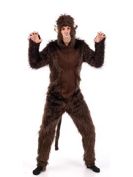 disfraz de lobo marron calidad hombre adulto. Este traje de Lobo con pelo de color marron, imita a la perfección al personaje del cuento de caperucita roja y mascota de animación.Este disfraz es ideal para tus fiestas temáticas de disfraces de animales para adultos.  <br> COMPOSICIÓN:MONO: 81,00% ACRILICA 19,00% POLIESTER