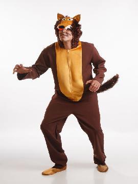 disfraz de lobo marron para hombre adultos. Este imita a la perfección al personaje del cuento de caperucita roja y mascota de animación.Este disfraz es ideal para tus fiestas temáticas de disfraces de animales para hombre adultos.