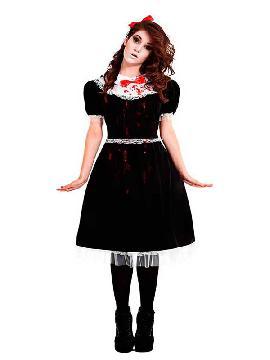 disfraz de muñeca lolita gotica mujer. Marcarás estilo y elegancia consiguiendo todo lo que te propongas en Fiestas del terror, halloween y carnaval. Este disfraz es ideal para tus fiestas temáticas de disfraces miedo y terror para adultos.