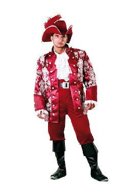 disfraz de lord pirata granate hombre. Puedes disfrazarte por tu cuenta o combinarte con tu pareja o familia de pirata para abordar con salvaje simpatía el Carnaval. Este disfraz es ideal para tus fiestas temáticas de disfraces piratas, bucaneros y corsarios adultos.