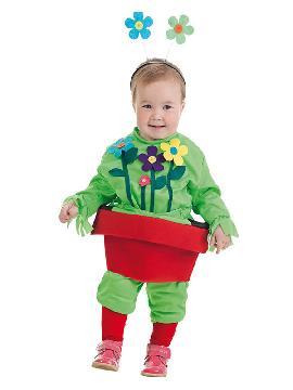 disfraz de maceta con flores para bebe