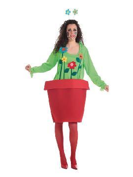 disfraz de maceta con flores para mujer