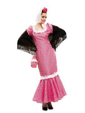 disfraz de madrileña o chulapa rosa mujer. Hará que te conviertas en el personaje femenino principal de la famosa zarzuela La berbena de la paloma. Vete ensayando con tu niña para que sea la mejor madrileña que baila el chotis en carnavales, fiestas temáticas. Este disfraz es ideal para tus fiestas temáticas de disfraces del mundo, paises y regionales adulto