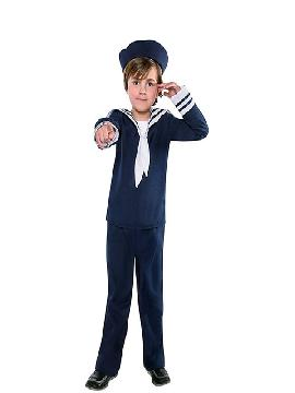 disfraz de marinero azul niño infantil. Es ideal para tus fiestas tematicas o para buscar a tu marinera en tus fiestas de fin de curso. Este disfraz es ideal para tus fiestas temáticas de disfraces de uniforme de trabajo,disfraces de marineros y del mar