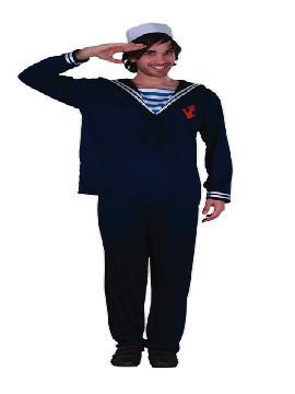 disfraz de marinero azul para hombre. Con este bonito uniforme surcaras los mares. Es ideal para tus fiestas tematicas o para buscar a tu marinera sexy en tus despedidas de soltero..Este disfraz es ideal para tus fiestas temáticas de disfraces de uniforme de trabajo,disfraces de marineros y del mar para hombre adultos.