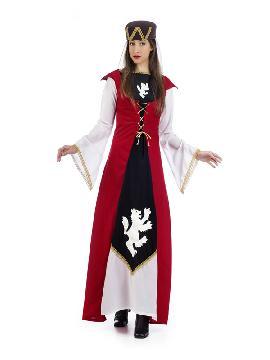 disfraz de marquesa medieval rojo mujer