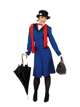 disfraz de mary poppins mujer. Señorita Poppins institutriz para mujer te convertirás en un auténtica mary poppins.Este disfraz es ideal para tus fiestas temáticas de disfraces cuentos populares,famosos y musicos para adultos.