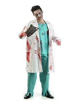 disfraz de medico zombie sangriento hombre. Con este traje volverás locas a las enfermeras de tu planta en la fiesta de halloween. Qué paciente femenina no querrá que la atiendas en fiestas temáticas.Este disfraz es ideal para tus fiestas temáticas de disfraces de uniformes de trabajo y enfermeras y medicos, miedo adultos