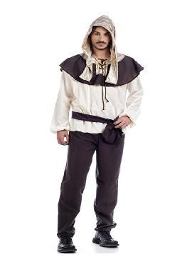 disfraz de medieval abelardo hombre. Para encarnar a una, tesonero, campesino o pastor en ferias medievales.Este disfraz es ideal para tus fiestas temáticas de disfraces época y medievales para la edad media adultos. Fabricación nacional.