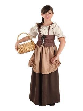 disfraz de medieval hortelana para niña