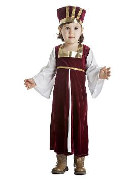 disfraz de medieval para niña infantil. Te convertirás en una auténtica niña de la época medieval cuando lleves este vestido granate medieval, representaciones para la guarde, festivales medievales y mercados. Este disfraz es ideal para tus fiestas temáticas de disfraces epoca y medievales para la edad media.