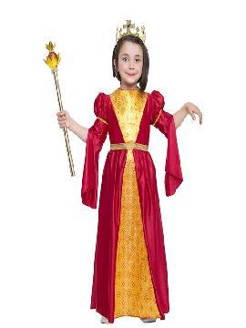 disfraz de medieval rojo y dorado niña