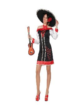 disfraz de mejicana mariachi para mujer adulto. Como una comadre o ranchera mejicana te sentirás con este Disfraz para mujer que imita la estética más tradicional de la vestimenta popular de México.Este disfraz es ideal para tus fiestas temáticas de disfraces del mundo por países y regionales.