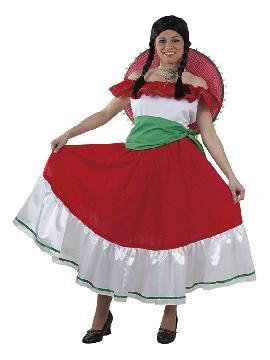 disfraz de mejicana mujer adulto. Conseguirá que los mariachis te den serenata bajo tu balcón. Roba el corazón de todo los mejicanos que vayan a las Fiestas de Carnaval. Este disfraz es ideal para tus fiestas temáticas de disfraces del mundo,países y regionales mujer adultos.