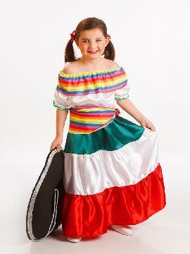 Disfraz de mejicana para niña. Tu hija lo pasará en grande bailando y cantando al compás de rancheras mejicanas en Fiestas Temáticas.Este disfraz es ideal para tus fiestas temáticas de disfraces del mundo,países y regionales para niñas infantiles.