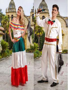 Siéntete como unos auténticos rancheros con estos Disfraces para parejas que imita la estética más tradicional de la vestimenta popular de México.Este disfraz es ideal para tus fiestas temáticas de disfraces para parejas del mundo por países y Regionales hombre y mujer