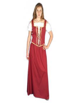 disfraz de mesonera granate lujo mujer adulto. Te convertirás en una auténtica mujer de la época medieval cuando lleves este vexstido de campesina medieval para mujer, representaciones teatrales y mercados medievales. Este disfraz es ideal para tus fiestas temáticas de disfraces epoca y medievales para la edad media adultos