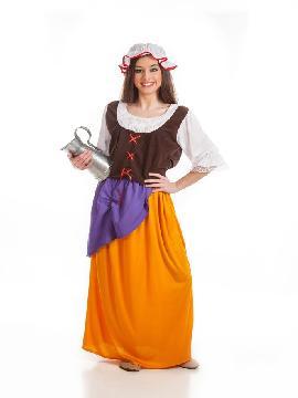 Disfraz de mesonera mujer. Compra tu disfraz barato y serás esa encantadora tabernera que amablemente apaga la sed y enamora con su sonrisa. Es ideal para tus ferias y mercados medievales.