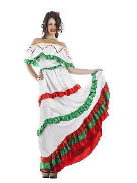 disfraz de mexicana barato para mujer adulto. Conseguirá que los mariachis te den serenata bajo tu balcón. Roba el corazón de todo los mejicanos que vayan a las Fiestas de Carnaval. Este disfraz es ideal para tus fiestas temáticas de disfraces del mundo,países y regionales mujer adultos.