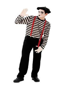 disfraz de mimo clasico para hombre te dará mucho juego en la noche de carnaval y de fiestas tematicas. Recuerda que no puedes hablar, sólo con tu expresión te comunicaras. Este disfraz es ideal para tus fiestas temáticas de disfraces de mimos, payasos del circo,bufones y arlequines para adultos