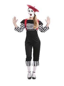 disfraz de mimo divertida mujer