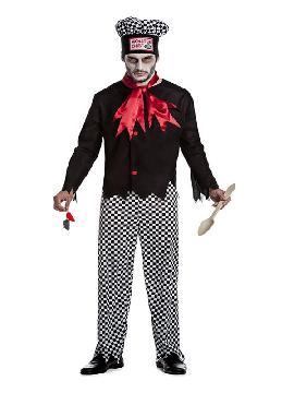 disfraz de monster chef o cocinero zombie hombre. Te entrara el gusanillo de la alta cocina y desearás preparar para tus invitados de Fiestas Temáticas de halloween. Este disfraz es ideal para tus fiestas temáticas de disfraces de uniformes de trabajo y deporte para adultos