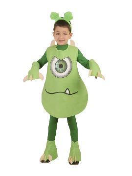 disfraz de monstruo verde para niño. Perfecto disfraz para imitar al personaje Mike Wazowski de la película de Monstruos S.A. Este disfraz es ideal para tus fiestas temáticas de cuentos, miedo y terror infantil
