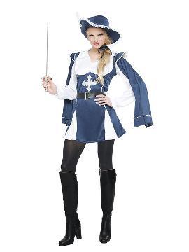 disfraz de mosquetera azul mujer