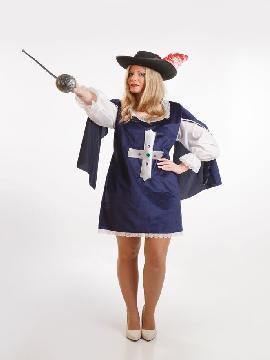 Disfraz de mosquetera azul para mujer. Ni el mismísimo Richelieu se resistirá a tus encantos. Únete a tus compañeras para correr mil aventuras en las fiestas temáticas.Este disfraz es ideal para tus fiestas temáticas de disfraces de mosqueteros y espadachines para mujer adultos.
