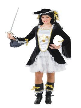 disfraz de mosquetera con vestido negro mujer. Compra tu disfraz barato adulto para tu grupo. Este traje es ideal para tus fiestas temáticas de mosqueteros y espadachines. fabricacion nacional