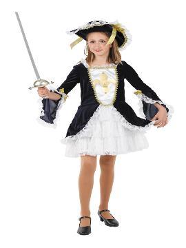 disfraz de mosquetera con vestido para niñas. Compra tu disfraz barato infantil para tu grupo. Este traje es ideal para tus fiestas temáticas de mosqueteros y espadachines. fabricacion nacional