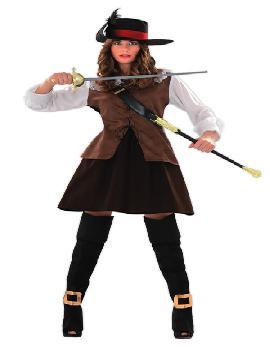 disfraz de mosquetera julieta para mujer. Compra tu disfraz barato adulto para tu grupo. Este traje es ideal para tus fiestas temáticas de mosqueteras y espadachines.