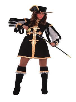 disfraz de mosquetera negra mujer