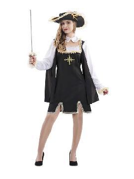 disfraz de mosquetera negro mujer