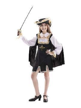 disfraz de mosquetera negro niña