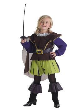 disfraz de mosquetera verde para niña