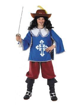 disfraz de mosquetero azul clasico niño
