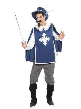 disfraz de mosquetero azul hombre
