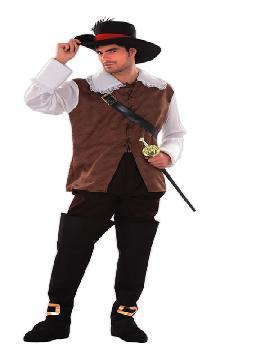 disfraz de mosquetero dartañán para hombre. Compra tu disfraz barato adulto para tu grupo. Este traje es ideal para tus fiestas temáticas de mosqueteras y espadachines.