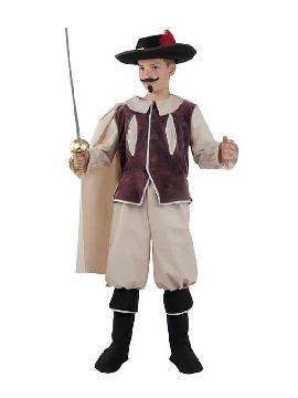 disfraz de mosquetero marron niño