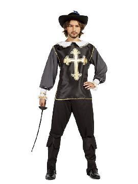 disfraz de mosquetero negro hombre