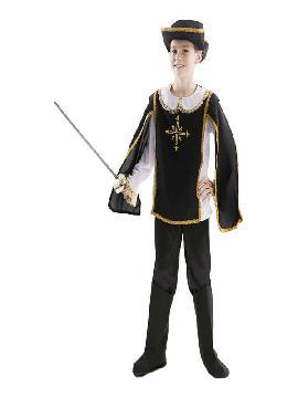 disfraz de mosquetero negro niño