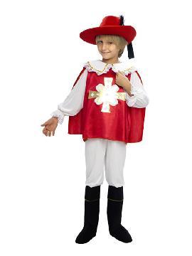 disfraz de mosquetero rojo barato niño