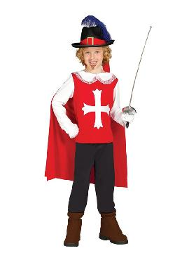 disfraz de mosquetero rojo para niño