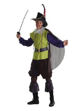 disfraz de mosquetero verde para niño