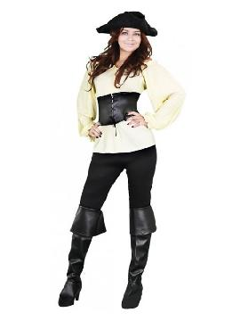 disfraz de moza pirata beige mujer