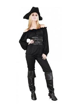 disfraz de moza pirata negro mujer