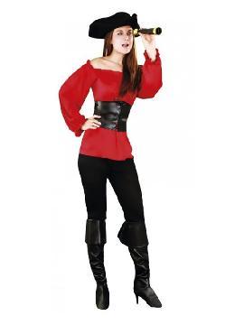 disfraz de moza pirata roja mujer. Puedes disfrazarte por tu cuenta o combinarte esta corsaria para abordar con salvaje simpatía el Carnaval y ser de la pelicula de piratas del caribe. Este disfraz es ideal para tus fiestas temáticas de disfraces piratas, bucaneros y corsarios adultos en familia